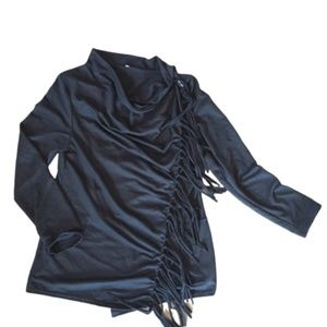 Boutique Lagenlook Wrap Sweater with Fringe